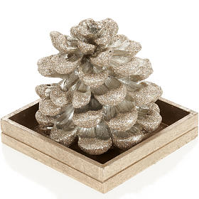 Pine cone candle, champagne color s1