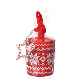 Candela natalizia bicchiere vetro rosse bianche assortite s2