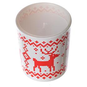 Candela natalizia bicchiere vetro rosse bianche assortite s3