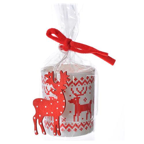Candela natalizia bicchiere vetro rosse bianche assortite 1