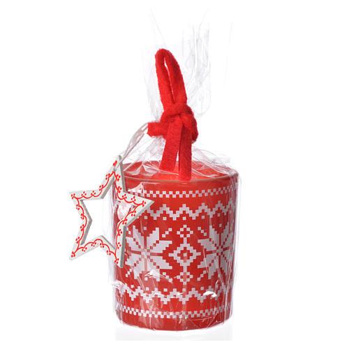 Candela natalizia bicchiere vetro rosse bianche assortite 2