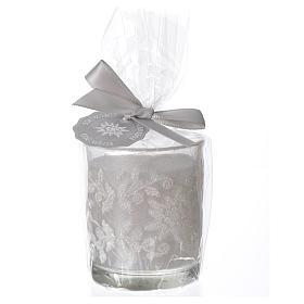 Candela di Natale bicchiere vetro bianco e avorio assortite s2