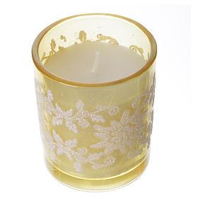 Candela di Natale bicchiere vetro bianco e avorio assortite s3