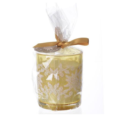 Candela di Natale bicchiere vetro bianco e avorio assortite 1