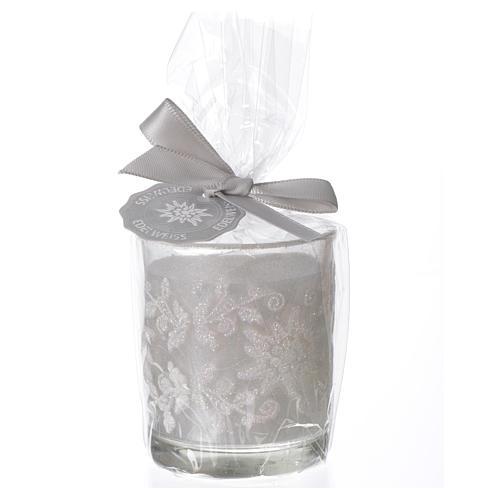 Candela di Natale bicchiere vetro bianco e avorio assortite 2