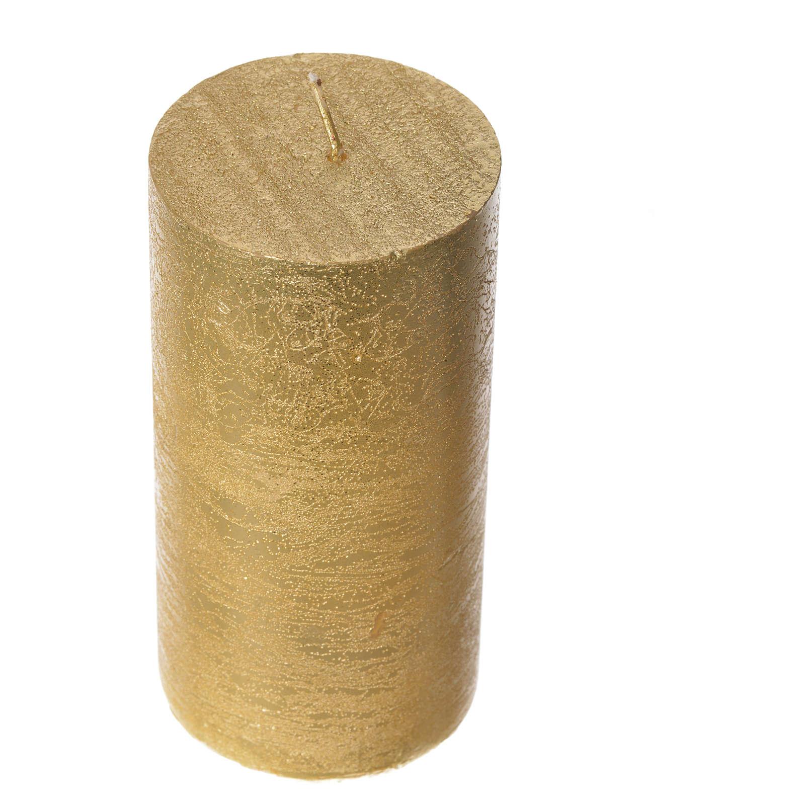 Candela natalizia cilindro glitter oro 3