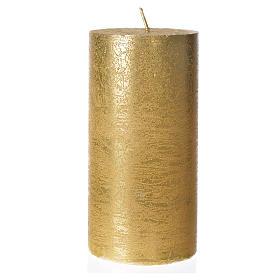 Candela natalizia cilindro glitter oro s1