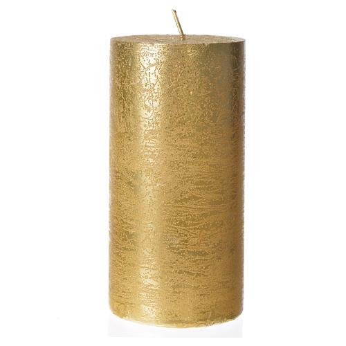 Candela natalizia cilindro glitter oro 1