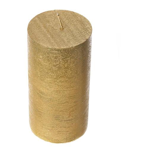 Candela natalizia cilindro glitter oro 2