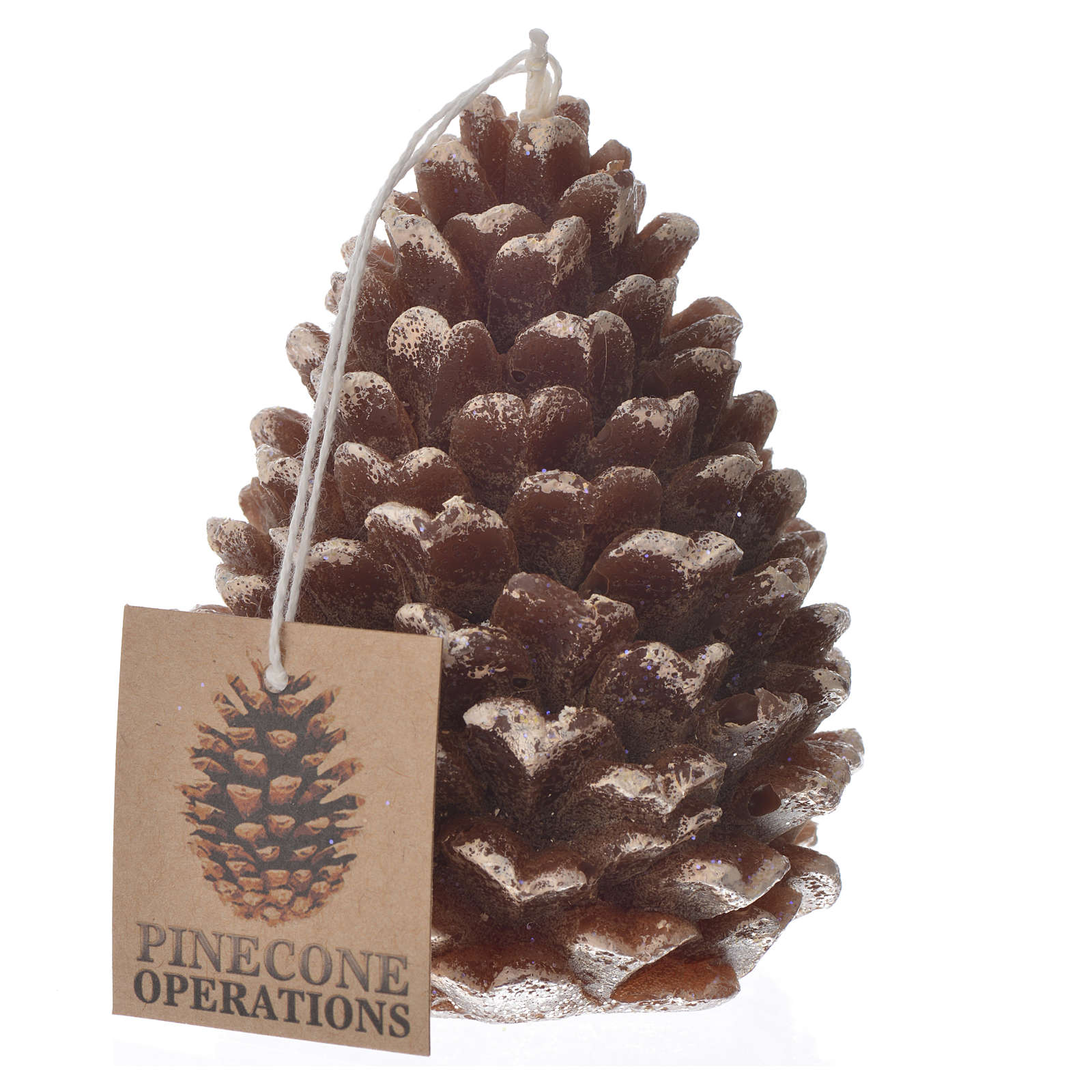 Christmas candle, pine cone with glitter 3