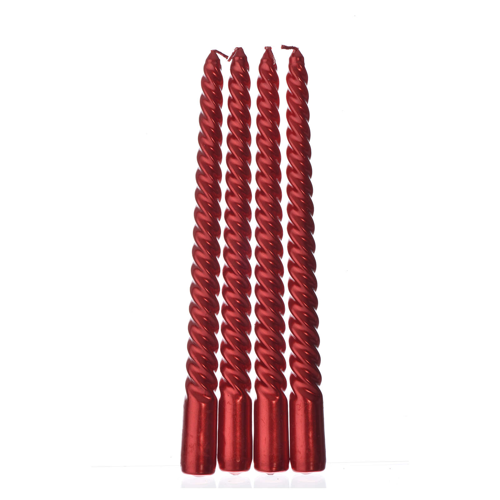 Candele di Natale torciglione rosse set 4 pz 3