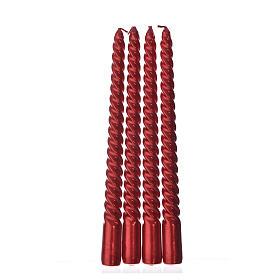 Candele di Natale torciglione rosse set 4 pz s1