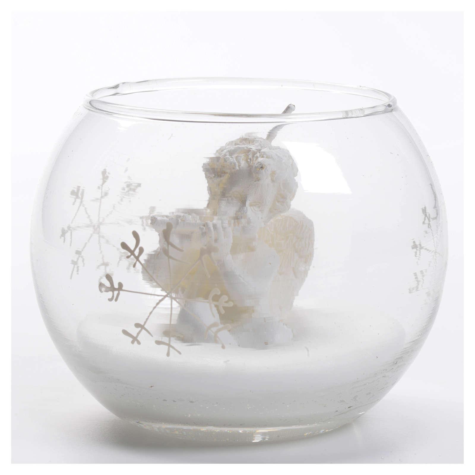Candela Natale angelo in palla di vetro 3