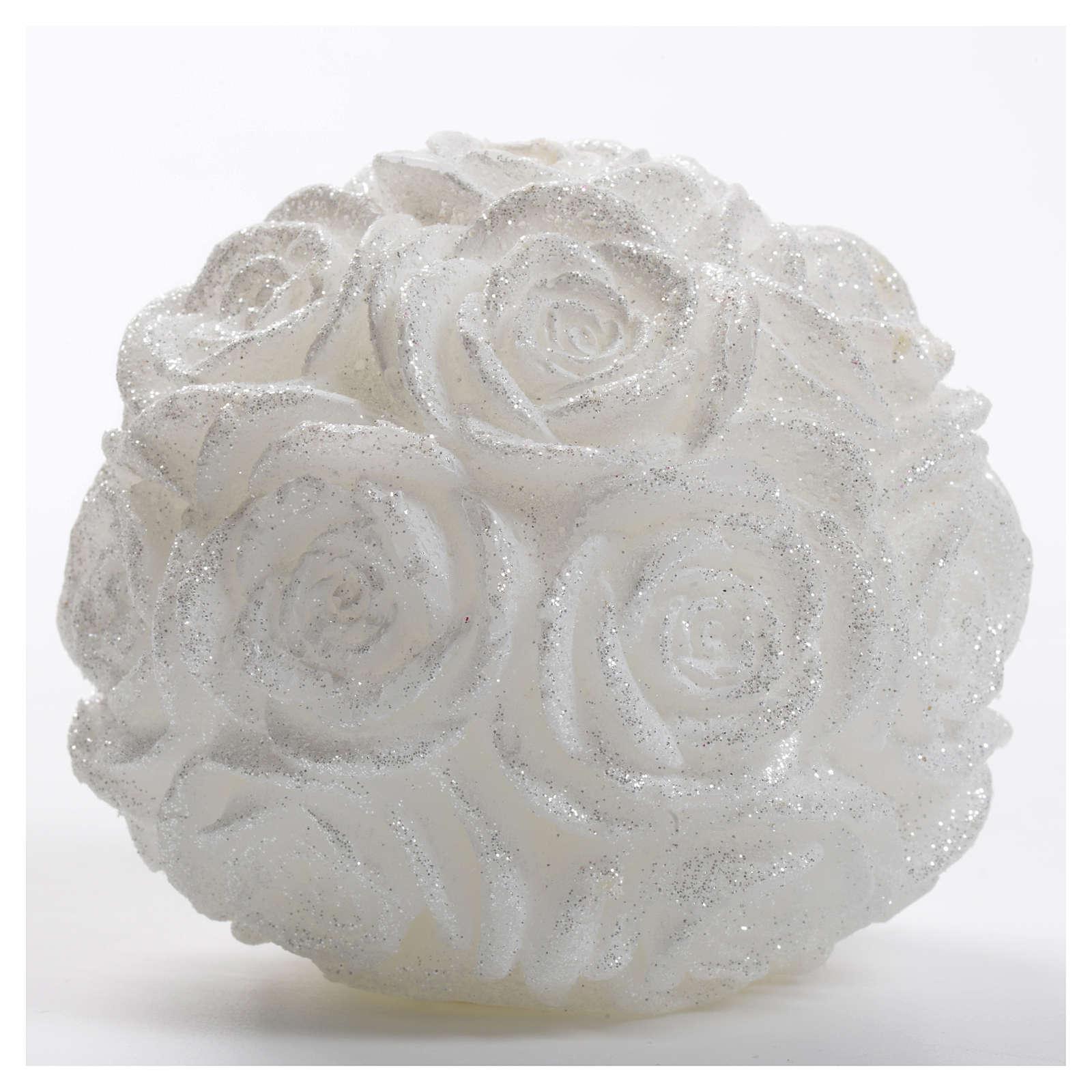 Candela Natale palla bianca rose glitter 3