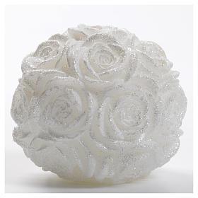 Candela Natale palla bianca rose glitter s1