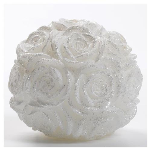 Candela Natale palla bianca rose glitter 1