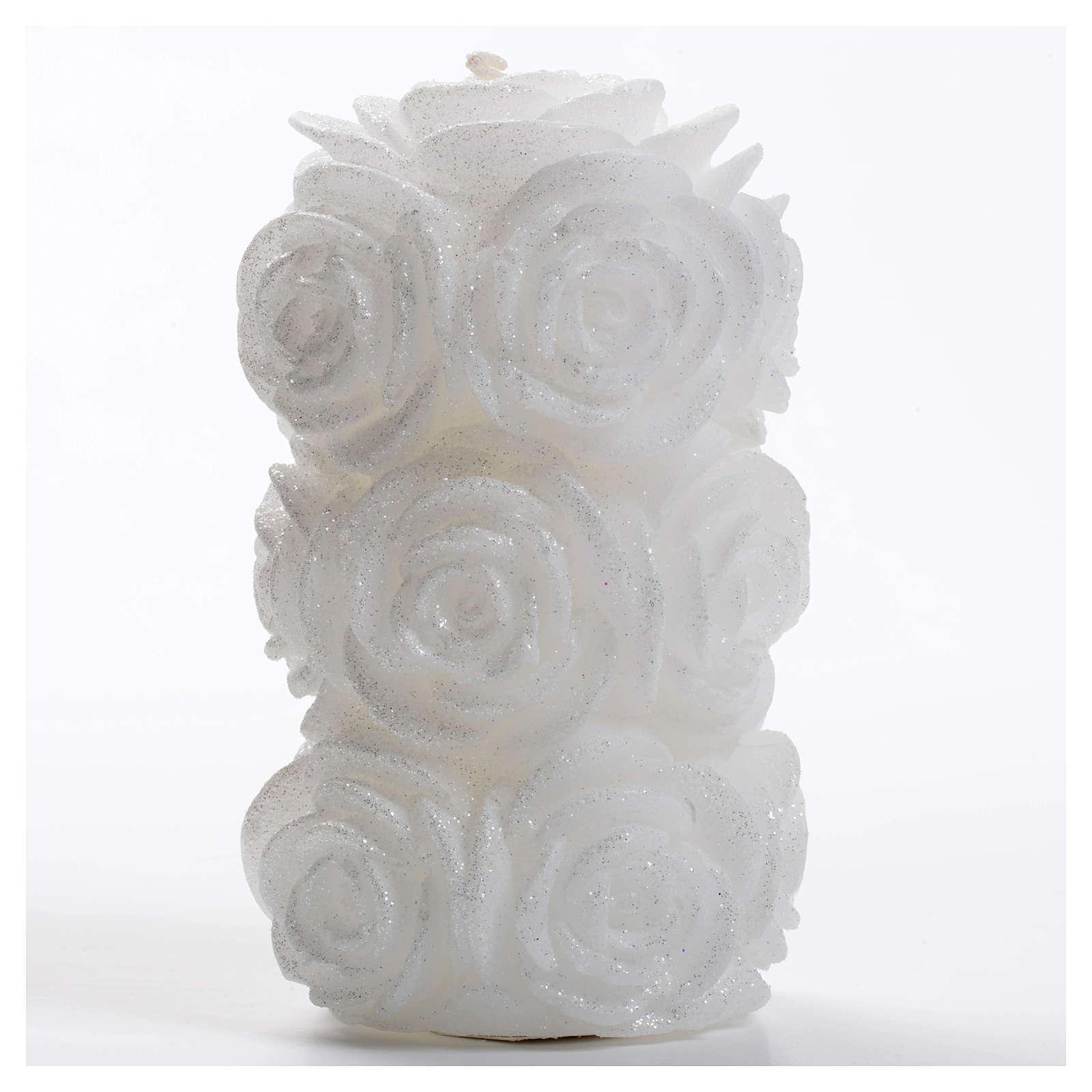 Candela natalizia cilindro rose glitter bianca 3