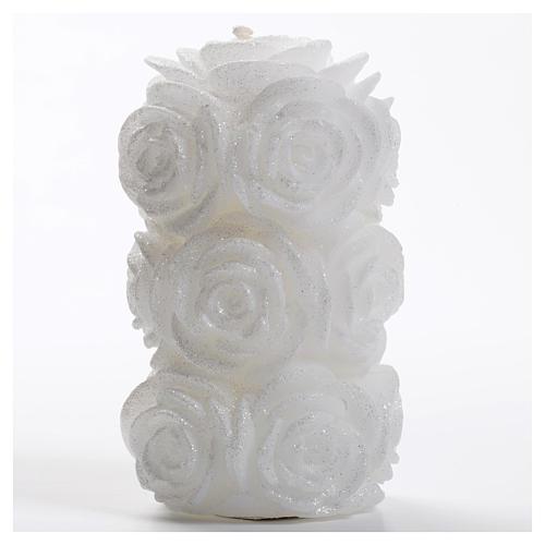 Candela natalizia cilindro rose glitter bianca 1
