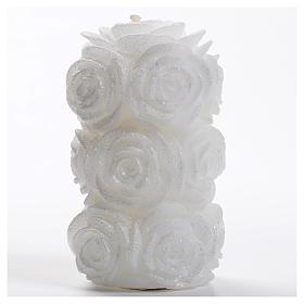 Velas de Natal: Vela natalina cilindro rosas glitter branca