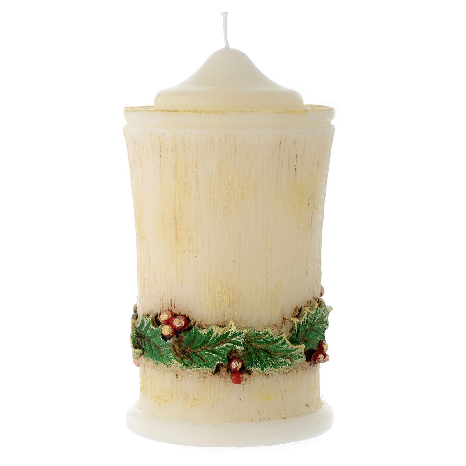 Weihnachtskerze mit Ilex Dekorationen 3