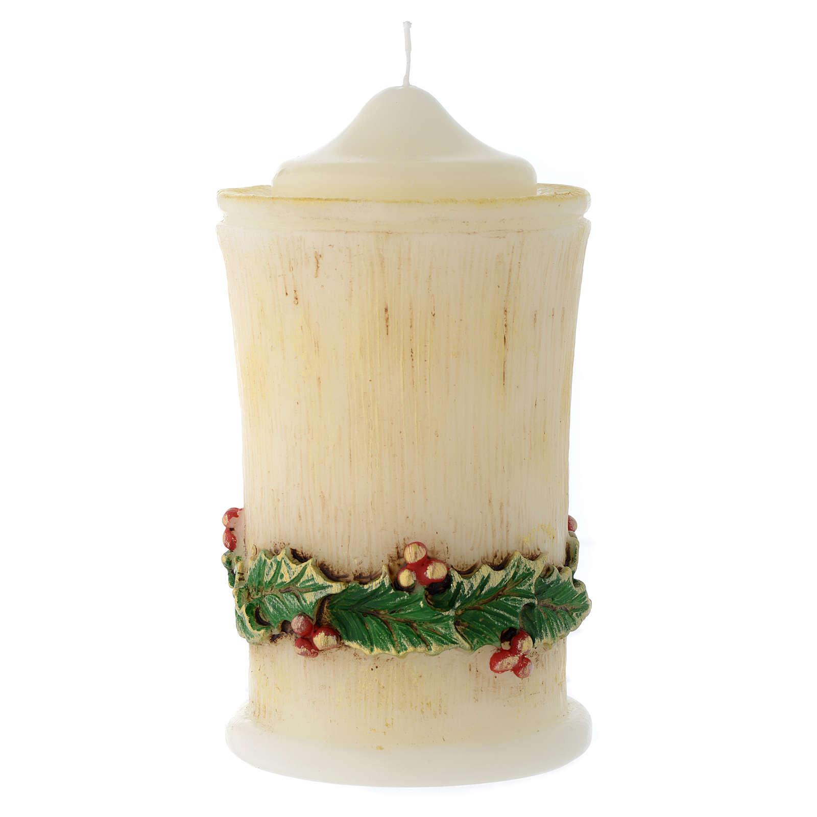 Vela de Navidad acebo cilindro con punta 3