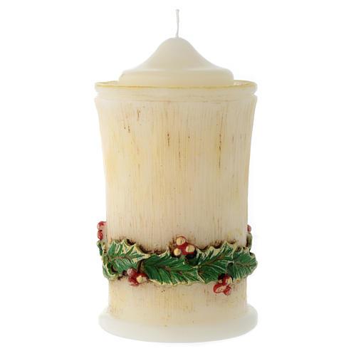 Vela de Navidad acebo cilindro con punta 1