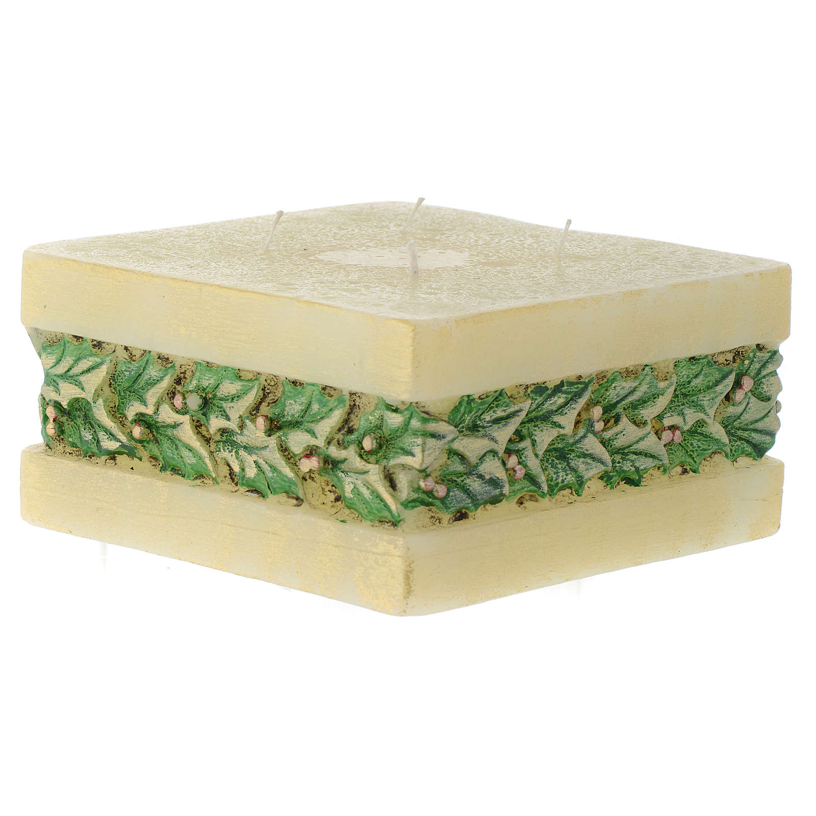 Christmas candle with holly, rectangular prism shape 3