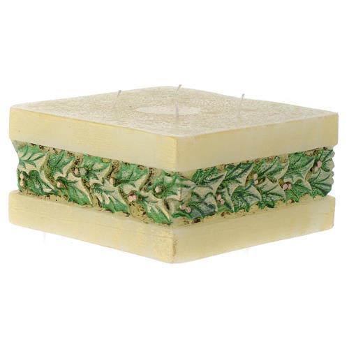 Christmas candle with holly, rectangular prism shape 2