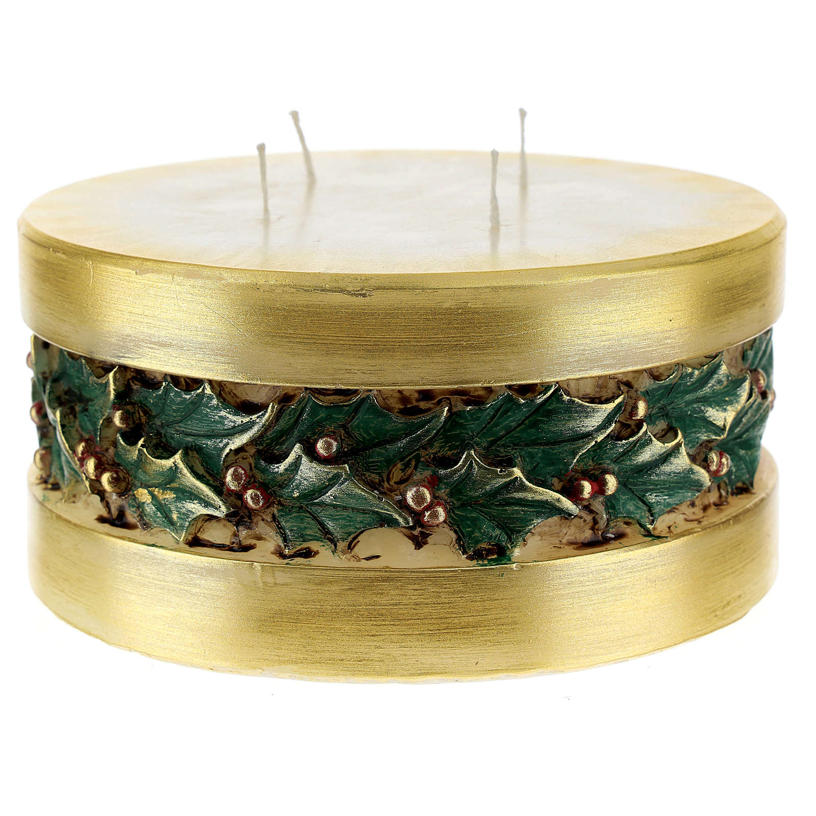 Christmas candle with holly, cylinder shape 3