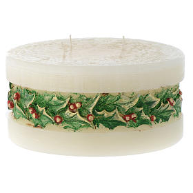 Christmas candle with holly, cylinder shape s1