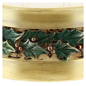 Christmas candle with holly, cylinder shape s2