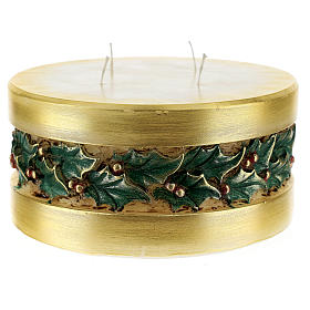 Christmas candle with holly, cylinder shape s3