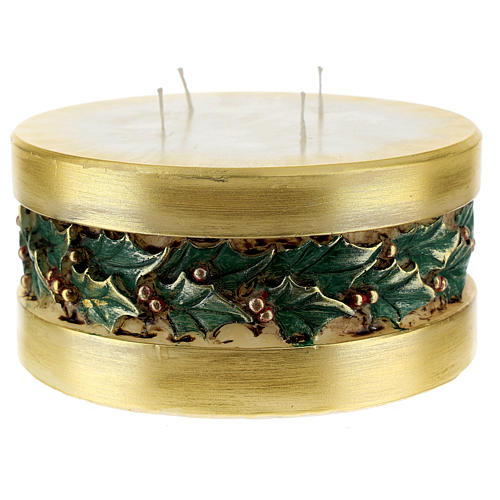 Christmas candle with holly, cylinder shape 1