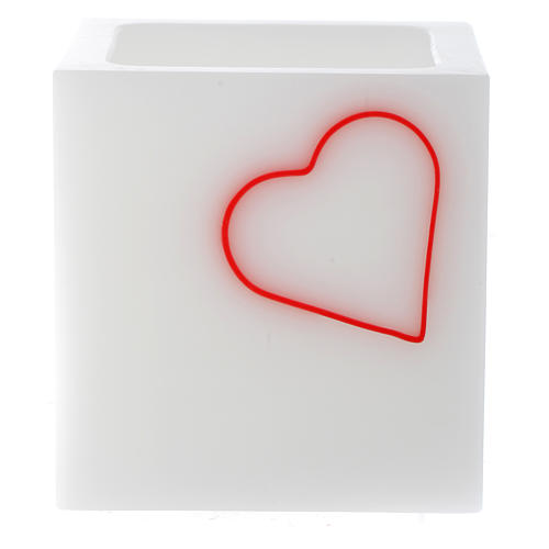 Candle, cubic shape with heart 1