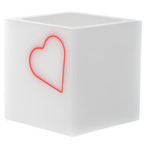 Candle, cubic shape with heart 2