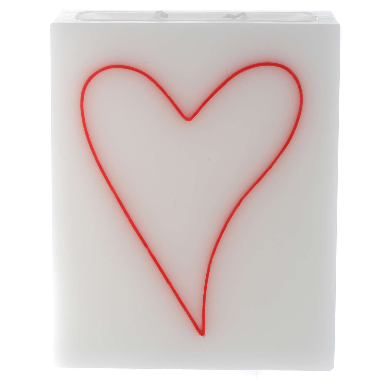 Candle, rectangular shape with heart 3