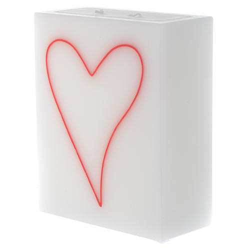 Candle, rectangular shape with heart 2