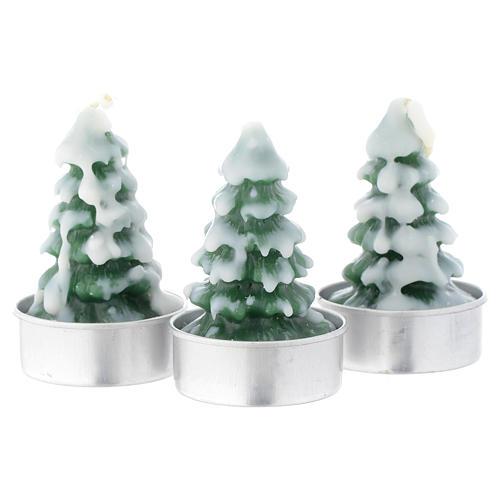 Vela navideña Árbol de Navidad con nieve, juego de 3 piezas 1