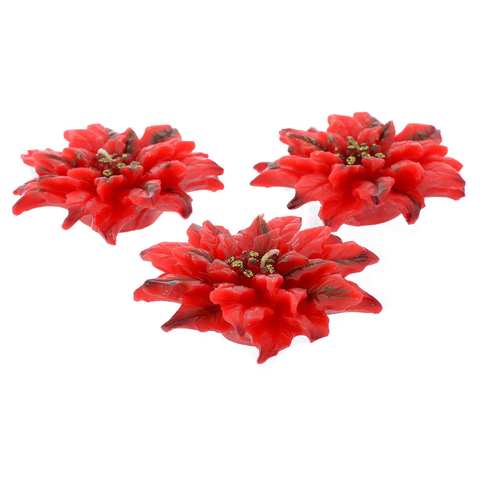 Vela navideña flor de Navidad roja, juego de 3 piezas 3