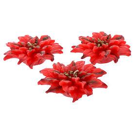 Vela navideña flor de Navidad roja, juego de 3 piezas s1