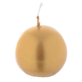 Vela de Navidad esfera oro, diámetro 5 cm s1