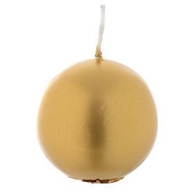 Spheric Christmas candle golden, 6cm diameter s1