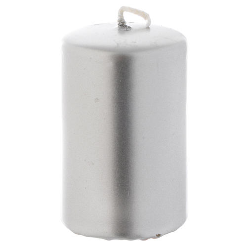 Christmas candle, silver color measuring 8x5cm 1