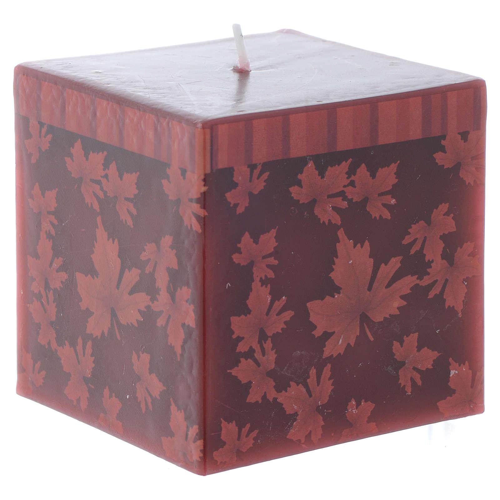 Bougie Noël carrée décor feuilles rouges 7,5 cm 3