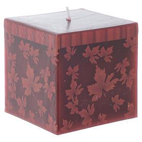 Velas de Natal: Vela natalícia quadrada decoração folhas vermelha 7,5 cm