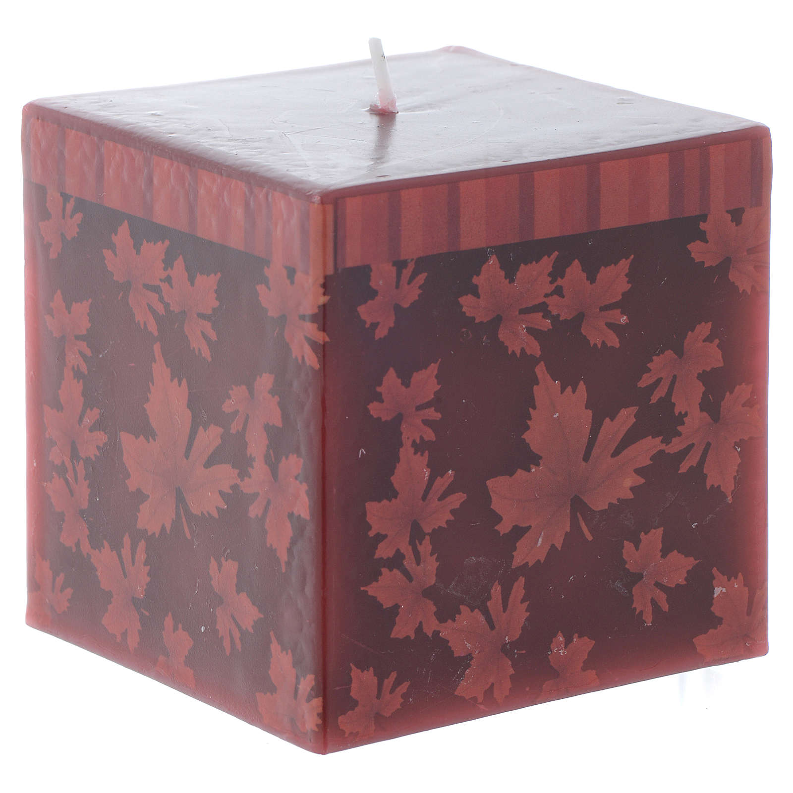 Square Christmas candle with leaf decoration, red 7.5 cm 3