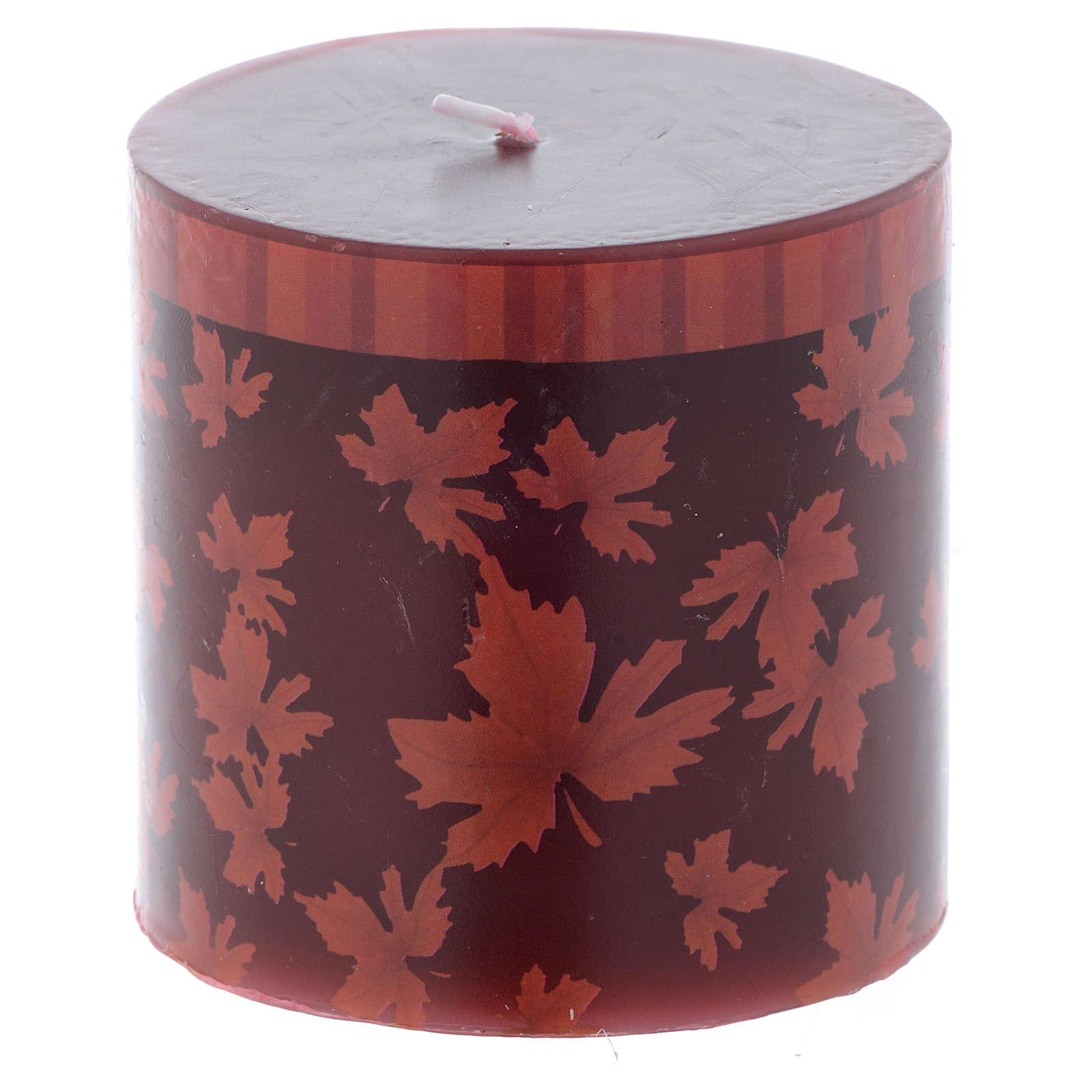Candela natalizia cilindro decoro foglie rosse 7,5 cm 3