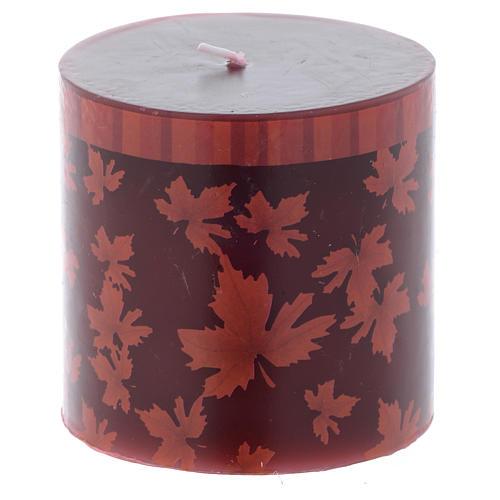Candela natalizia cilindro decoro foglie rosse 7,5 cm 1