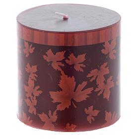 Velas de Natal: Vela natalícia cilindro decoração folhas vermelhas 7,5 cm