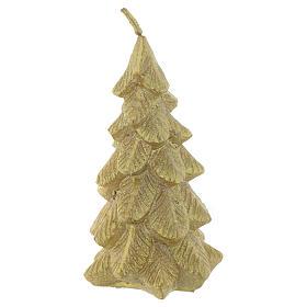Weihnachtskerze Tannenbaum 11cm vergoldet s1